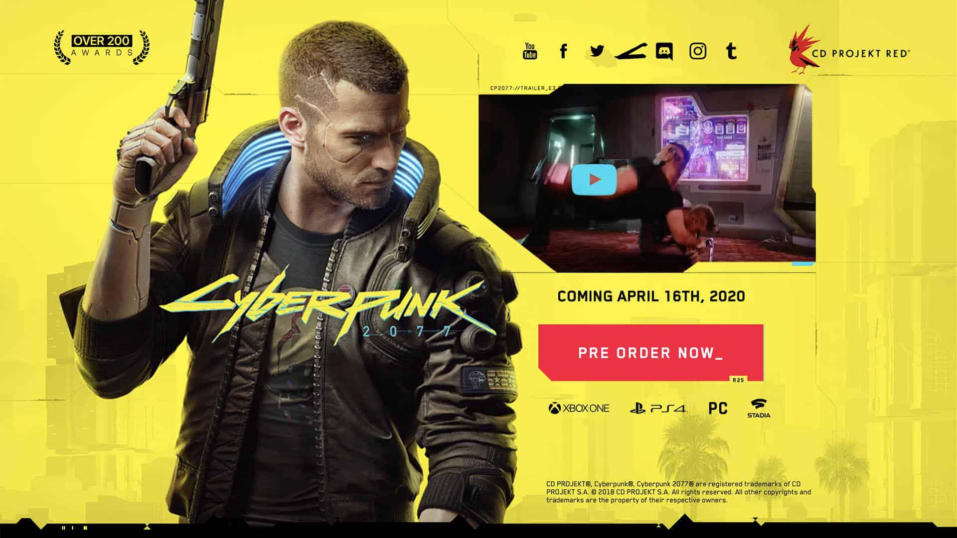 Pagina web per il Pre-Order di Cyberpunk 2077