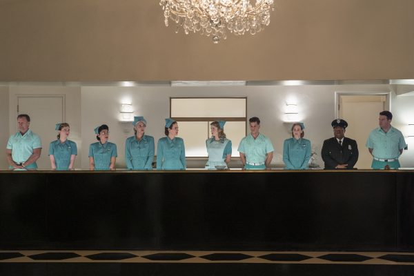 EMILY MEST as NURSE AMELIA, SARAH PAULSON as MILDRED RATCHED, ALICE ENGLERT as NURSE DOLLY, CHARLIE CARVER as HUCK FINNIGAN and JERMAINE WILLIAMS as HAROLD